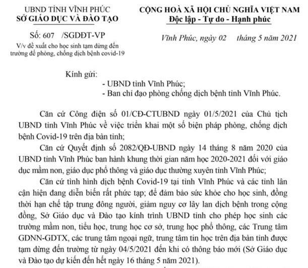 Dịch Covid phức tạp, Vĩnh Phúc đề xuất cho học sinh tạm dừng đến trường 2 tuần