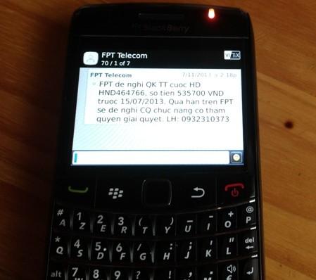Thêm một nạn nhân bị tổng đài FPT Telecom nhắn tin đòi nợ tiền