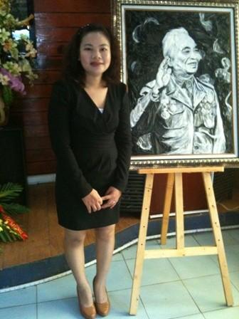 Cô gái sáng tạo chân dung độc đáo về đại tướng Võ Nguyên Giáp