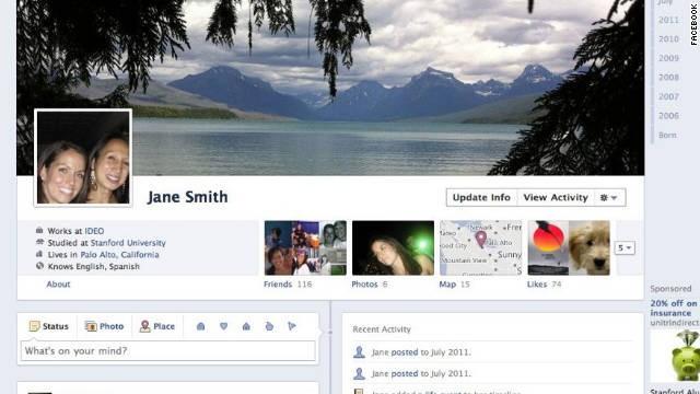 Giao diện Facebook khi dùng Timeline