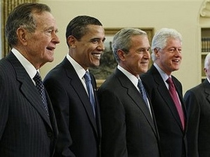Các đời Tổng thống Mỹ gặp mặt tại Nhà Trắng. Ảnh: AP