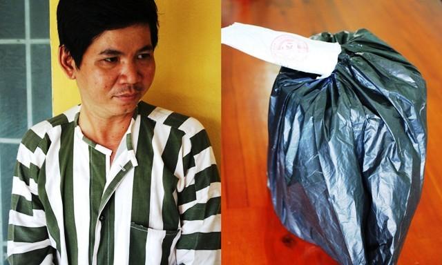 Nguyễn Nhật Quang và quả bom giả dùng để cướp tiệm vàng.