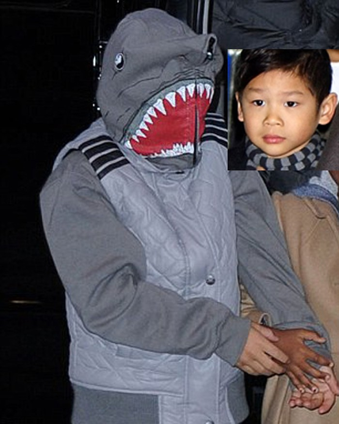 Cậu bé trùm kín đầu trong chiếc mũ cá mập này là Pax Thiên - đứa con nuôi gốc Việt 8 tuổi của cặp sao.
