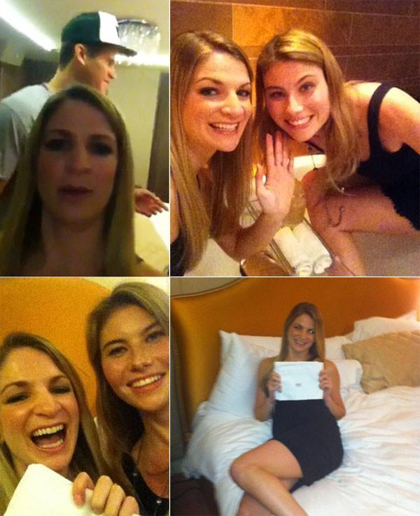 Những bức ảnh hai cô gái vui vẻ ở căn hộ của Kim Kardashian được đăng tải lên Twitter.