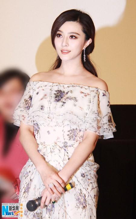 Nữ diễn viên họ Phạm trong buổi ra mắt phim My Way tại Nhật. Ảnh: Xinhuanet.