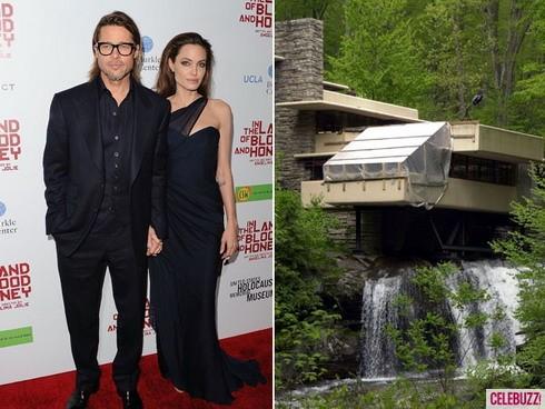 Thác nước ở California (bên phải) là món quà đắt giá mà Angelina Jolie tặng cho người tình dịp Giáng sinh vừa qua.